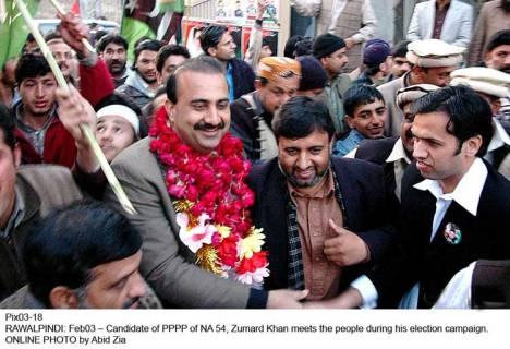 PPP Candidate Zamurd Khan campaigning - Source: pakistanleaders.com.pk